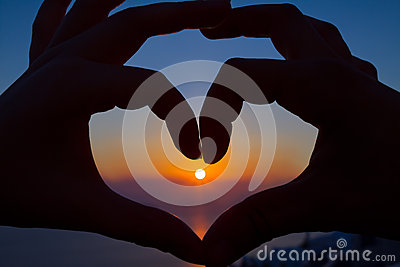 Romantic Heart in the Sunset