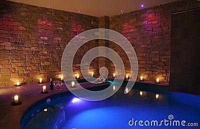 Romantic indoor spa pool