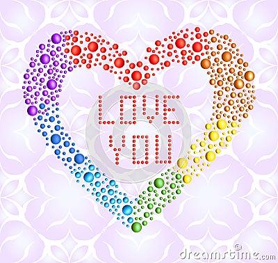 Romantic iridescent heart