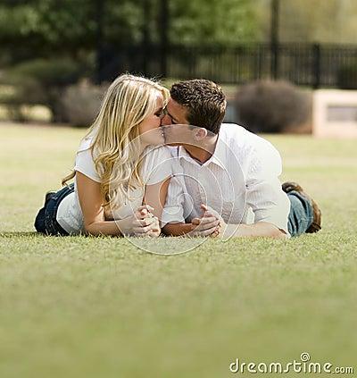 Romantic kiss in park