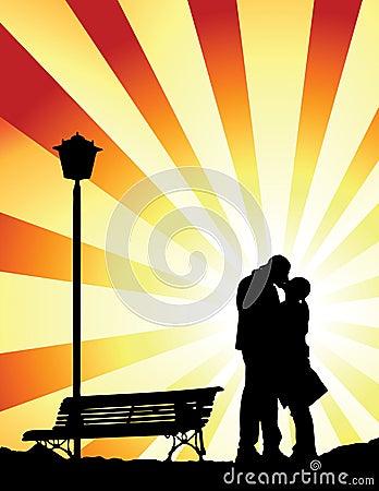 Romantic kiss (vector)