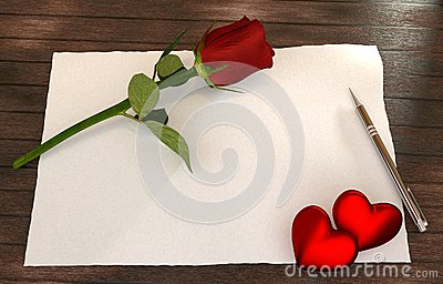 Romantic letter with rose, red hearts on wooden table
