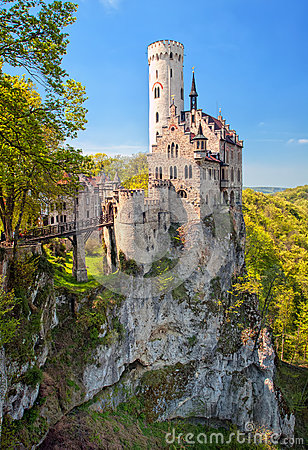 Free Romantic Lichtenstein Castle On The Rock In Black Forest, German Stock Photography - 65740922