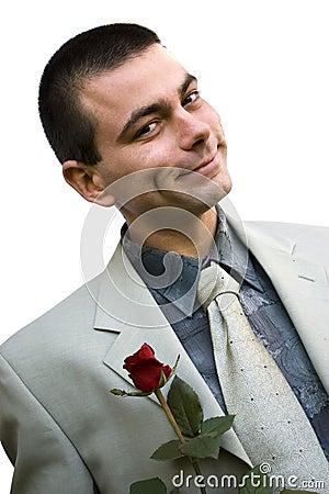 Romantic man with rose