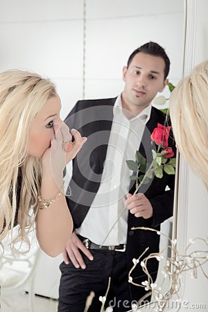 Romantic man watching his sweetheart