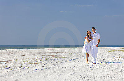 Romantic Man & Woman Couple Walking on An Beach