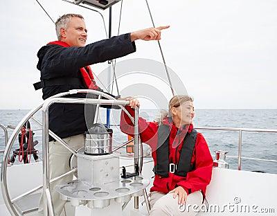 Romantic mature couple on a sea voyage