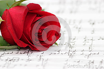 Romantic music, rose, piano sheet