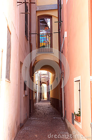 Romantic narrow alley in Noli,Italian Riviera