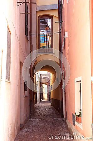 Romantic narrow alley in Noli,Italian Riviera