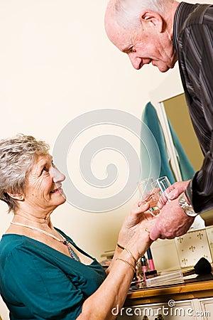 Romantic older couple
