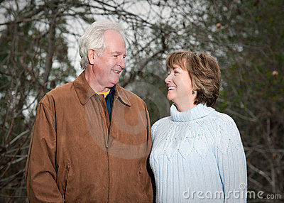 Romantic older couple looking at each other