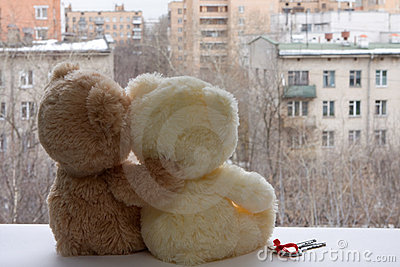 Romantic pair of teddy bears dreaming
