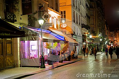 Romantic Paris street café Editorial Stock Image