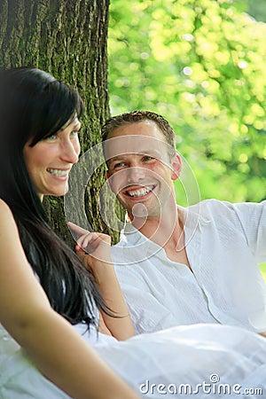 Romantic park couple