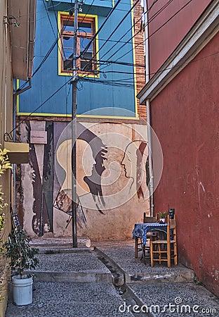 Romantic passage with graffiti Editorial Image