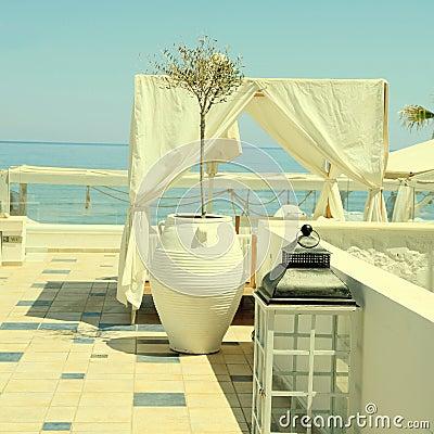 Free Romantic Patio With Sea View, Greece. Stock Photos - 81223283