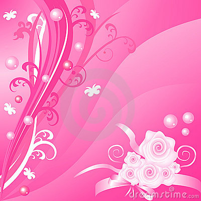 Romantic pink floral vector background with roses