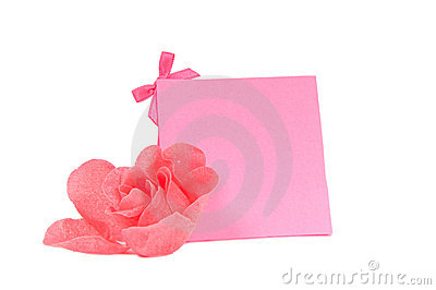 Romantic pink gift card and a flower isolated