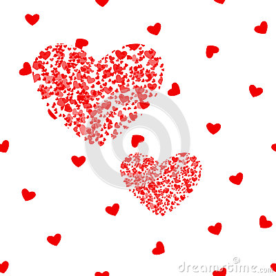 Free Romantic Pink Heart Background. Vector Illustration For Holiday Design. Many Flying Hearts On White Pattern. For Wedding Royalty Free Stock Photography - 86093597