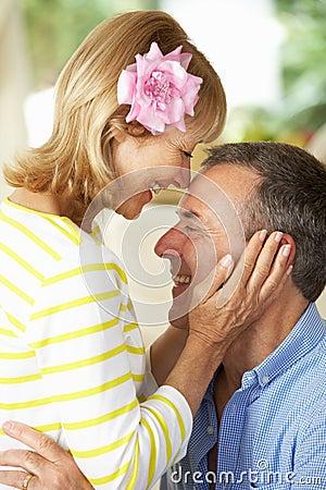 Romantic Portrait Of Senior Couple Indoors