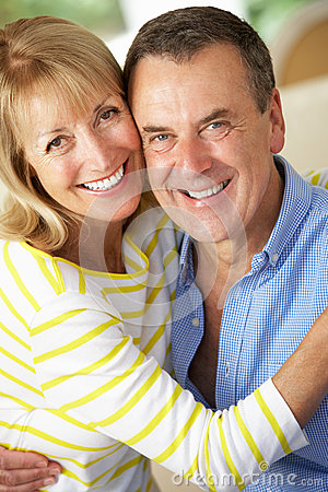 Romantic Portrait Of Senior Couple Indoors
