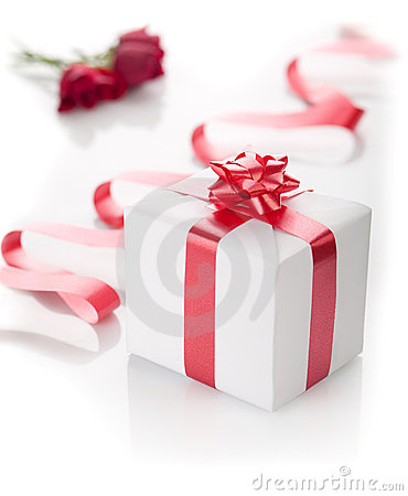 Romantic present in a box on a white background.