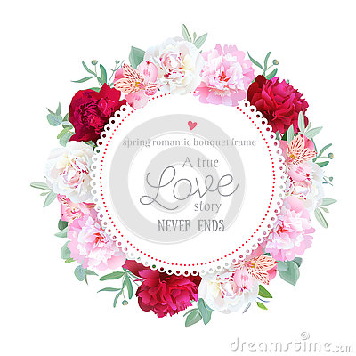 Free Romantic Red, White And Pink Peonies, Alstroemeria Lily, Eucalyptus Leaves Round Vector Frame Royalty Free Stock Photography - 76074387