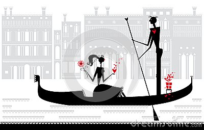 Romantic rendezvous in Venice.