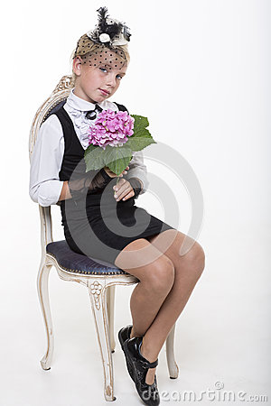 Romantic retro girl with flower