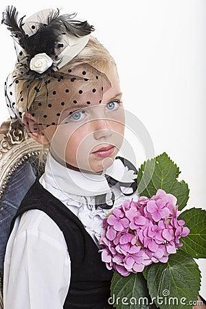 Romantic retro girl with flower