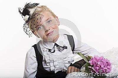 Romantic retro style girl with flower