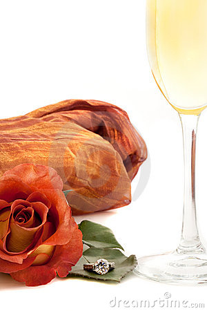 Romantic rose and wine