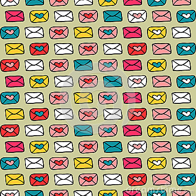 Romantic seamless pattern with colorful envelopes