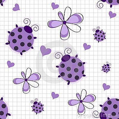 Romantic seamless pattern with ladybugs