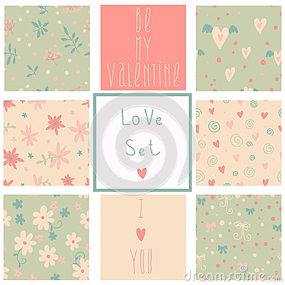 Romantic seamless patterns. Love set.