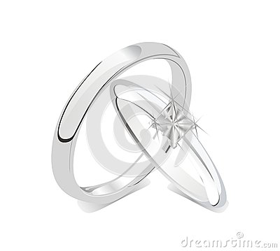 Romantic shiny wedding rings couple