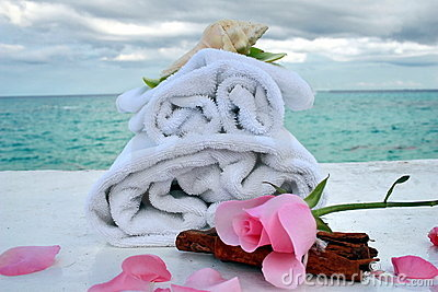 Romantic spa with ocean