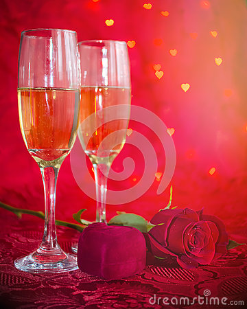Free Romantic Still Life With Champagne, Gift Box And Red Rose Stock Image - 66317561