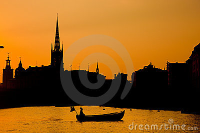 Romantic Stockholm, Sweden. Boat at sunset