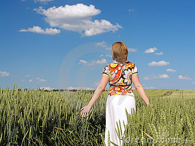 Romantic stroll in wheat corn