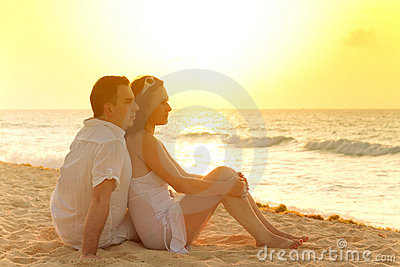 Romantic sunrise together