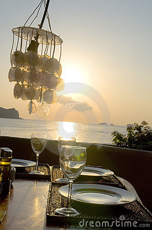 Romantic sunset Dinner table