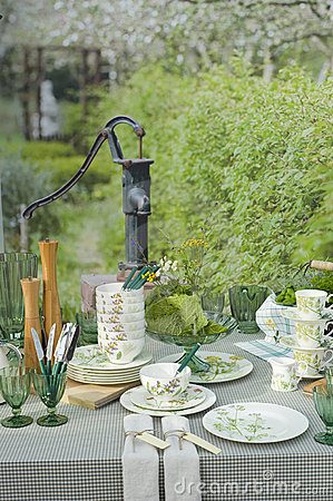 Romantic table setting in garden