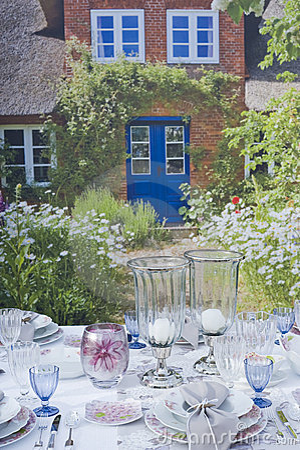 Romantic table setting in garden