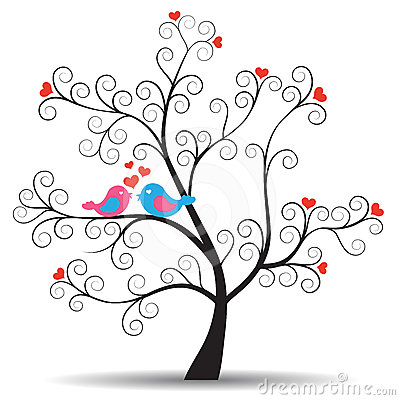 Romantic tree with inlove couple birds