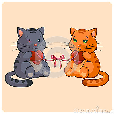 Romantic Two cats in Love
