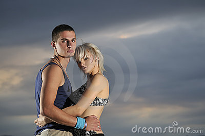 Romantic urban couple dancing outdoor