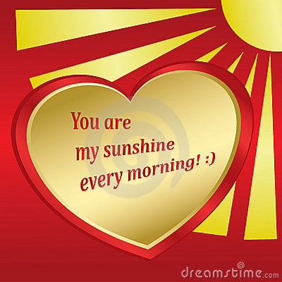 Romantic vector card with sun and heart