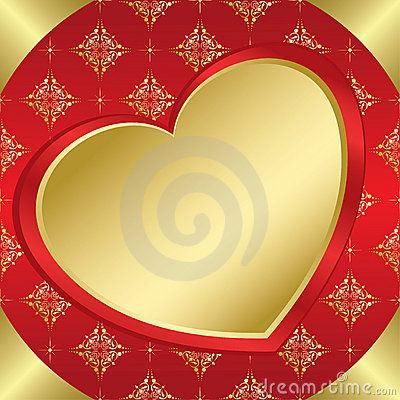 Romantic vector frame with heart and tracery